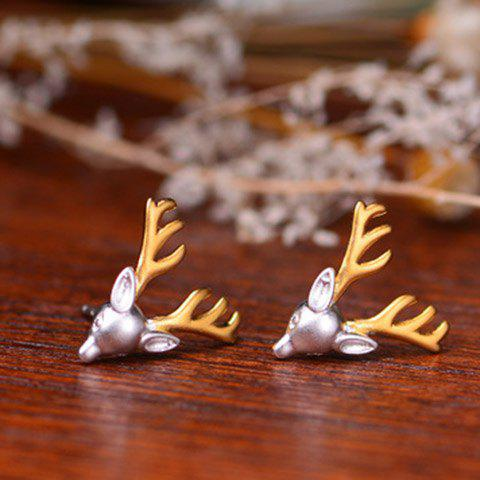Fancy Pair of Alloy Reindeer Head Shape Earrings SILVER