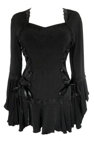 Sweetheart Neck Long Sleeve Pure Color Lace Up Blouse $19.92 AT vintagedancer.com