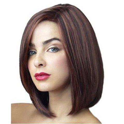Cheap Stunning Straight Bob Style Fashion Medium Deep Brown Mixed Heat Resistant Fiber Wig For Women