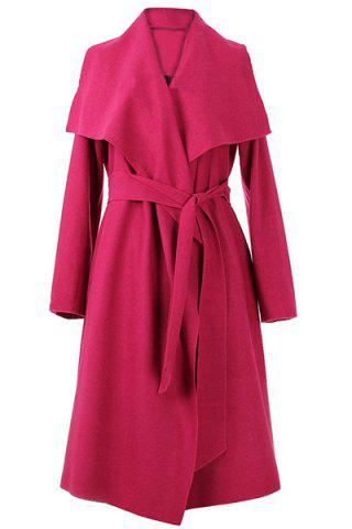 Shops Vintage Style Turn-Down Collar Long Sleeve Pure Color Self Tie Belt Women's Coat