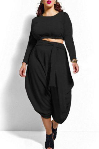 Chic Stylish Solid Color Long Sleeve Crop Top and High Waist Irregular Pantskirt Twinset For Women BLACK 2XL