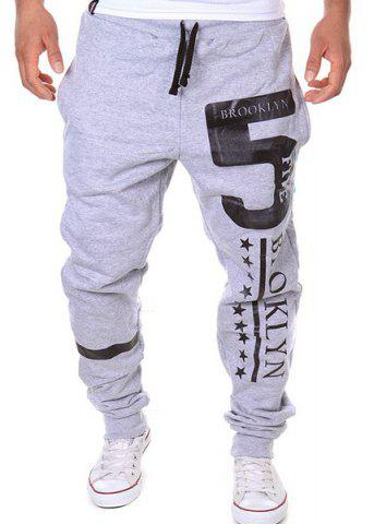 Sale Hot Sale Beam Feet Letters Number Star Print Loose Fit Men's Lace-Up Sweatpants LIGHT GRAY M