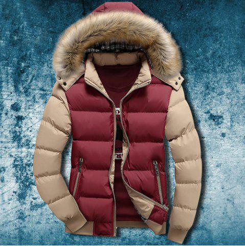 Store Zipper Pocket Color Splicing Rib Hem Hooded Long Sleeves Men's Thicken Padded Coat COLORMIX 3XL