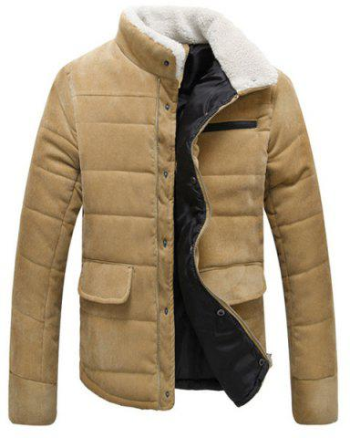 Cheap Fur Collar PU Leather Spliced Flap Pocket Long Sleeves Fitted Men's Thicken Corduroy Padded Coat