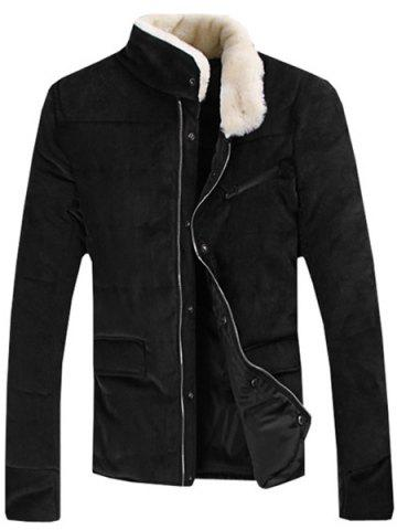 Cheap Fur Collar PU Leather Spliced Flap Pocket Long Sleeves Fitted Men's Thicken Corduroy Padded Coat - L BLACK Mobile