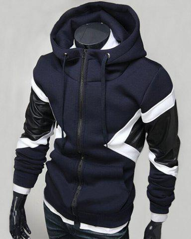 Hit Color PU Leather Spliced Triangle Pattern Front Pocket Drawstring Hooded Long Sleeves Men's Hoodie