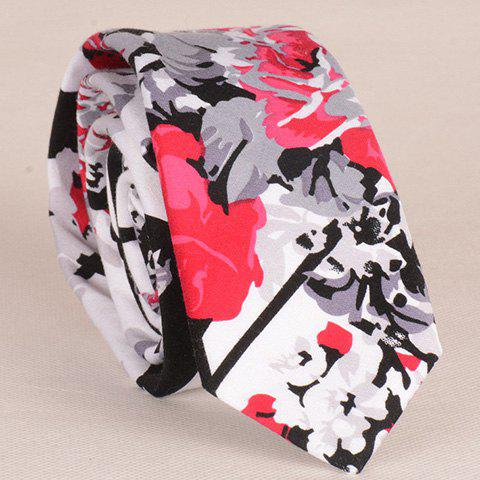 Cheap Stylish Flower and Leaf Ink Pattern 6CM Width Tie For Men