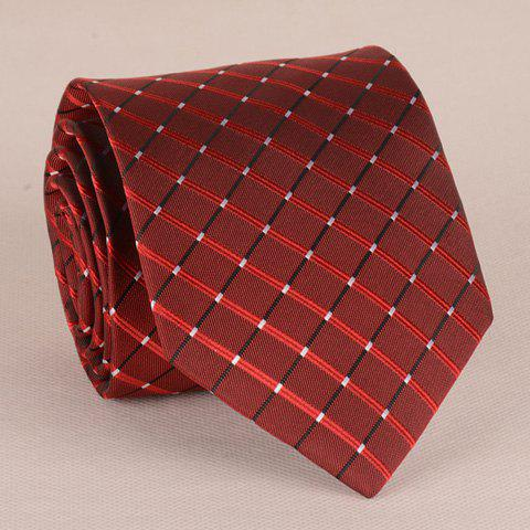 Latest Stunning Checkered Pattern 8CM Width Wine Red Tie For Men