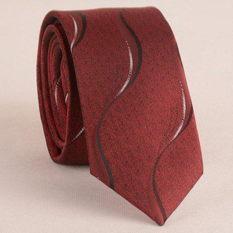 Trendy Stylish Water Ripple Pattern 6CM Width Wine Red Tie For Men WINE RED