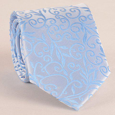 Shop Stylish Flower Rattan Jacquard 8CM Width Sky Blue Tie For Men AZURE