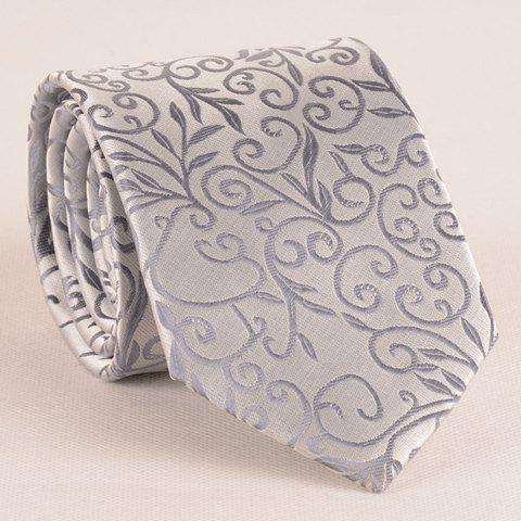 Unique Stylish Flower Rattan Jacquard 8CM Width Light Gray Tie For Men