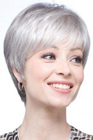 Latest Graceful Short Inclined Bang Synthetic Vogue Silvery Gray Straight Capless Wig For Women SILVER GRAY