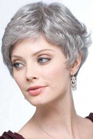 Latest Fashion Fluffy Curly Silvery Gray Capless Elegant Short Side Bang Synthetic Wig For Women - SILVER GRAY  Mobile