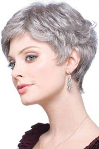 Outfits Fashion Fluffy Curly Silvery Gray Capless Elegant Short Side Bang Synthetic Wig For Women - SILVER GRAY  Mobile