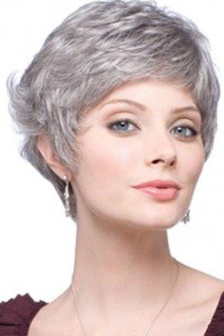 New Fashion Fluffy Curly Silvery Gray Capless Elegant Short Side Bang Synthetic Wig For Women - SILVER GRAY  Mobile