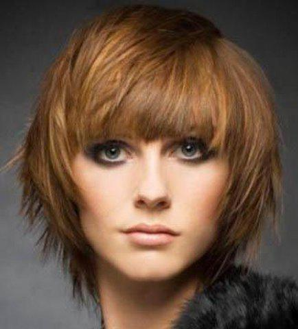 Buy Stylish Brown Mixed Full Bang Capless Stunning Short Fluffy Straight Synthetic Wig For Women