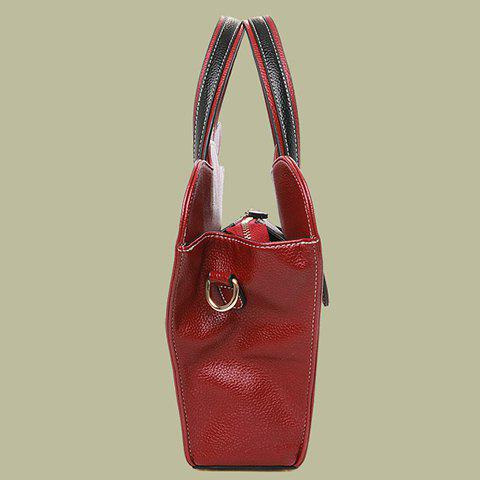 Outfit Color Block Handbag - WINE RED  Mobile