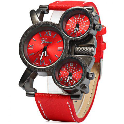 Buy Geneva Three Movt Male Quartz Watch with Leather Band RED