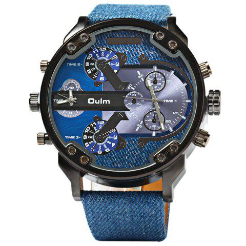 Shop Oulm 3548 Male Quartz Watch Dual Movt Big Dial Wristwatch BLUE