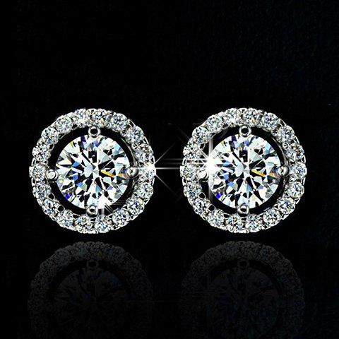 Affordable Pair of Stylish Faux Crystal Rhinestone Round Earrings For Women