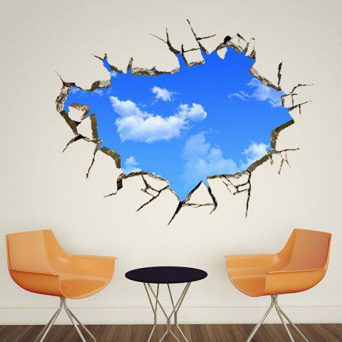 Chic Blue Sky and White Cloud Pattern Removeable 3D Wall Sticker от Rosegal.com INT