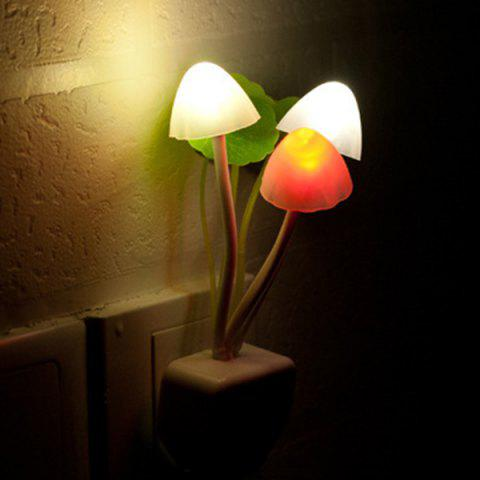 Romantic Colorful Ombre Fashion Sensor LED Lotus Leaf Decor Mushroom Night Light - White
