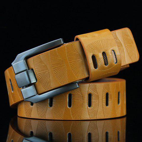 Sale Stylish Pin Buckle Stripy PU Wide Belt For Men - YELLOW  Mobile