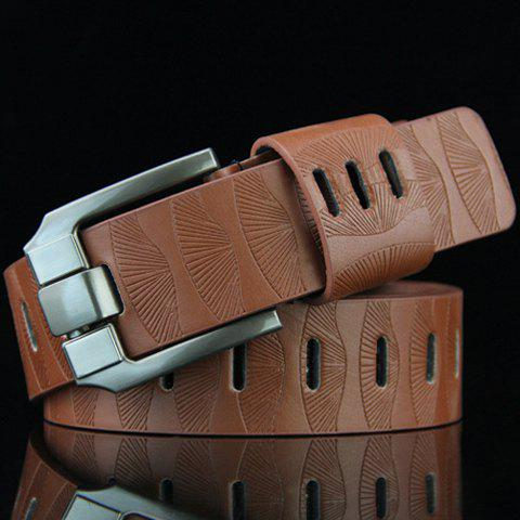 Latest Stylish Pin Buckle Stripy PU Wide Belt For Men - BROWN  Mobile