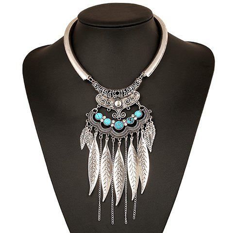 Hot Ethnic Hollow Out Leaf Tassel Torque For Women SILVER