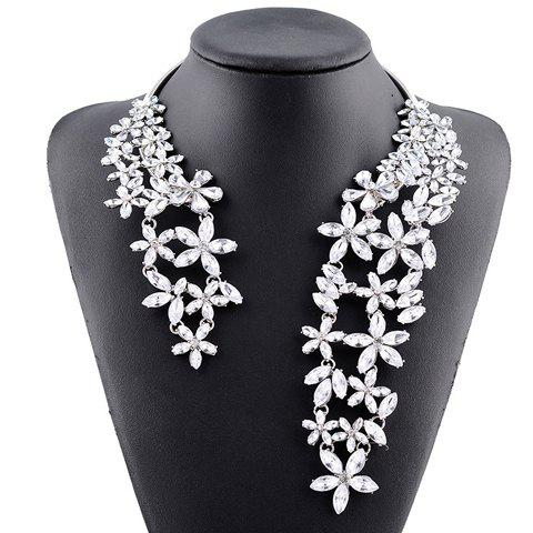 Outfits Hollow Out Rhinestone Floral Cuff Necklace WHITE