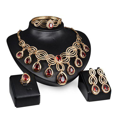 Sale A Suit of Vintage Faux Ruby Water Drop Necklace Ring Bracelet and Earrings For Women GOLDEN ONE-SIZE