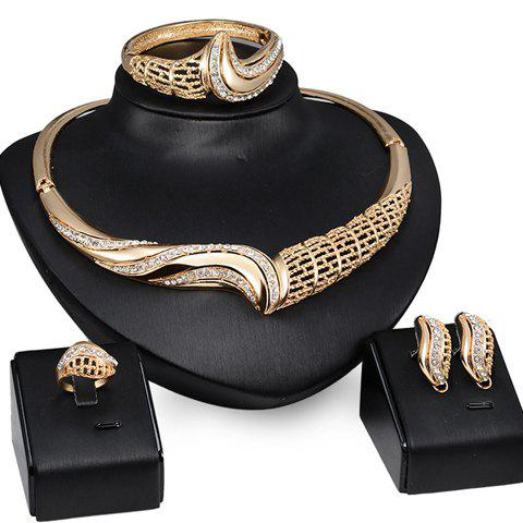 A Suit of Chic Rhinestone Hollow Out Necklace Ring Bracelet and Earrings For Women - GOLDEN ONE-SIZE