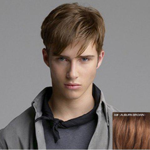 Latest Fashion Side Bang Capless Masculine Short Straight Real Natural Hair Wig For Men AUBURN BROWN