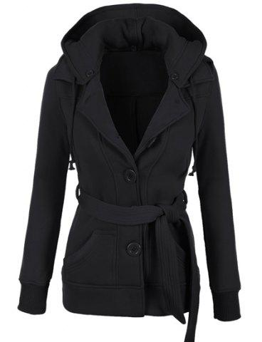 Stylish Hooded Long Sleeve Solid Color Belted Single-Breasted Women's Hoodie - Black - L