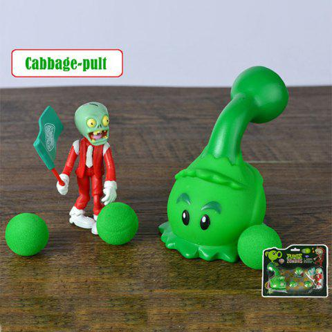 Online Plants vs. Zombies Shooter Cabbage-pult Educational Toy Gift Toy with Zombie 3 Ball GREEN