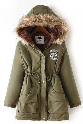 Chic Women's Long Sleeve Fur Collar Hooded Lace-Up Coat - Army Green - S