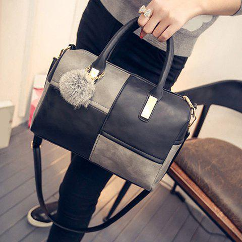 Affordable Trendy Metal and Colour Block Design Women's Tote Bag - BLACK AND GREY  Mobile