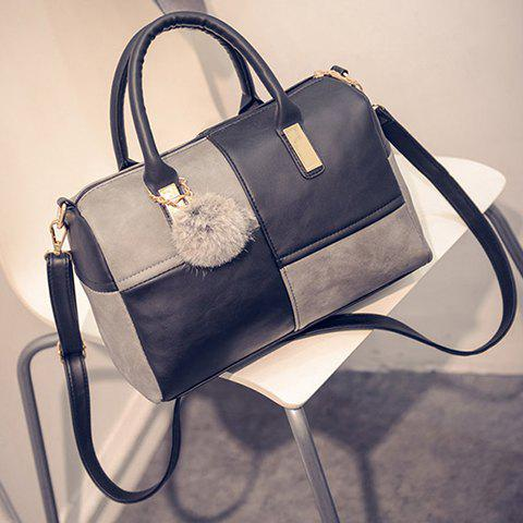 Fancy Trendy Metal and Colour Block Design Women's Tote Bag - BLACK AND GREY  Mobile