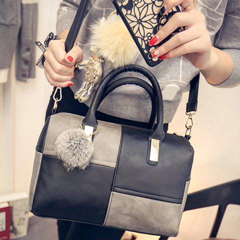 Latest Trendy Metal and Colour Block Design Women's Tote Bag - BLACK AND GREY  Mobile