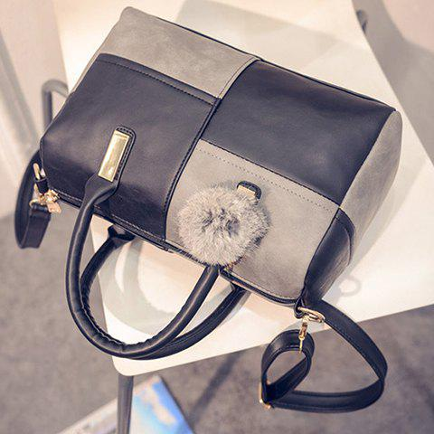 Shops Trendy Metal and Colour Block Design Women's Tote Bag - BLACK AND GREY  Mobile