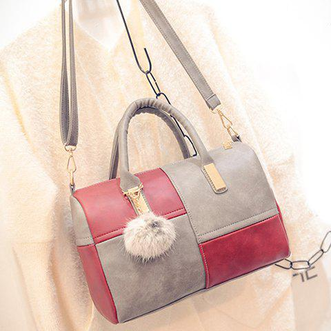 Outfit Trendy Metal and Colour Block Design Women's Tote Bag - GRAY  Mobile