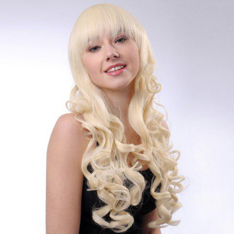 Latest Attractive Light Blonde Synthetic Trendy Long Shaggy Curly Full Bang Wig For Women