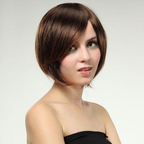 Hot Sweet Light Brown Mixed Side Bang Synthetic Trendy Short Straight Bob Hairstyle Wig For Women