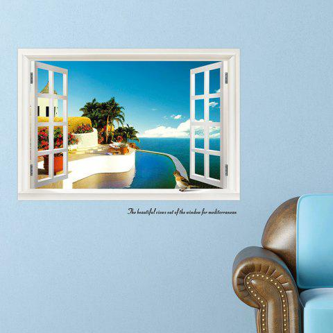 New Beautiful 3D Seascape Style Removable PVC Wall Stickers Colorful Room Window Decoration