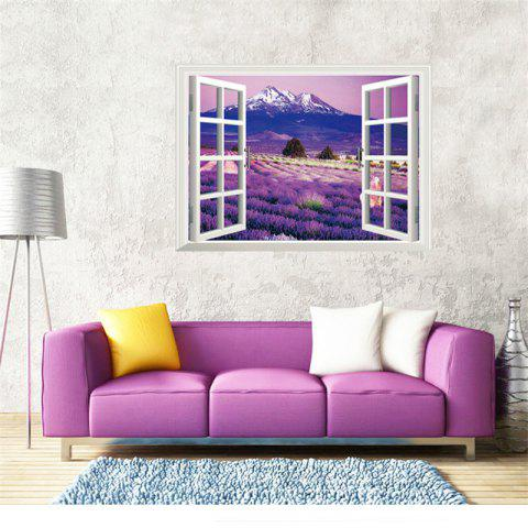 Buy 3D Beautiful Lavender Flower Sea Style Removable PVC Wall Stickers Colorful Room Window Decoration