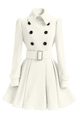 Online Fit and Flare Double Breasted Coat WHITE L