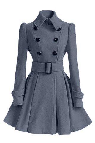 Unique Fit and Flare Double Breasted Coat GRAY S