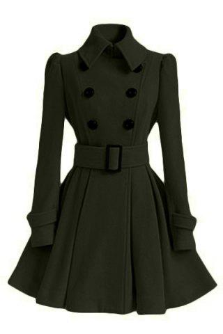 Shops Fit and Flare Double Breasted Coat ARMY GREEN L