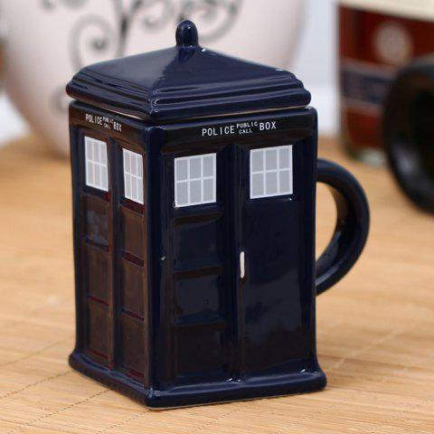 Chic Novel Police Box Style Ceramic Mug with Removable Cup Lid