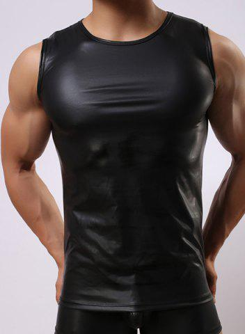 Store Round Neck Sexy Close-Fitting Sleeveless Men's PU-Leather Tank Top